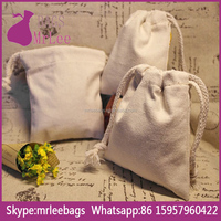 Custom natural cheap drawstring cotton flour bags on stock