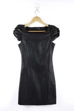Cap Sleeve Black PU Bodycon Dress 2015