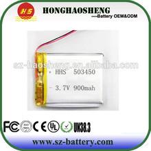 hot sale long cycle life rechargeable 3.7v 900mah li-ion battery