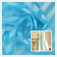 china manufacturer colorful strip organza high quality women clothes fabric