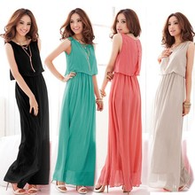 New Women Bohenmia Pleated Wave Lace Strap Long Maxi Dresses 3694