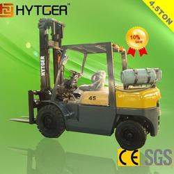 Made In China HYTGER 4.5ton NISSAN K25 Engine Gasoline / Lpg Forklift Truck For Sale