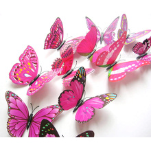 Simulation Stereo Pink Butterfly Plastic Removable Wall Sticker