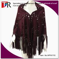 custom made suede leather fringe wholesale leather shawl