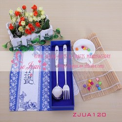 Chinese Porcelain Tableware Of Stainless Steel Spoon & Fork In Blue and White For Wedding Ceartive Party Favors & Gifts