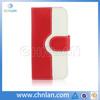 Dual color patchwork case leather belt clip flip wallet case for iphone 5