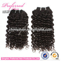 Hot sale Fashion 16'' 1# Jerry curl Peruvian human hair weft with wholesale price accept Escrow