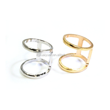 Fashion stainless steel double ring one finger