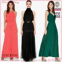 New fashion latest design lady sexy chiffon maxi dresses,long dress with waist belt