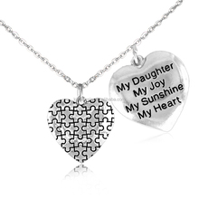 """Autism Silver Puzzle Heart And Engraved """"My Daughter My Joy My Sunshine My Heart"""" Double Heart Pendants Necklace"""
