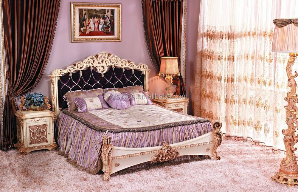 Bisini luxury french baroque bedroom furniture european for French baroque bed