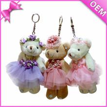 2015 hot selling cute ICTI audit fashion plush teddy bear keychain