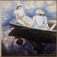 Hot sale hat woman in boat oil painting landscape by Monet made in China