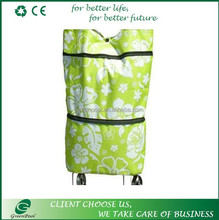 Alibaba new design fashion hot selling polyester shopping bag with wheels