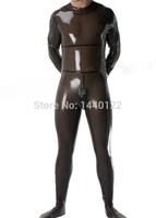 2015 new fashion Transparent black latex catsuit zipper from back under crotch club bodysuits for men plus size Hot sale