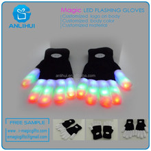 LED color gloves Black glove with led lights party dressing item