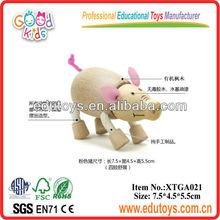 Juguete de madera- animales de juguete de cerdo de color rosa