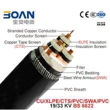 Cu/XLPE/Cts/PVC/Swa/PVC Power Cable 19/33Kv 3/C BS 6622