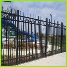 2015 new products top rails wrought iron fence, spear top metal fence, steel fence