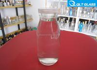 Clear Round trasparent beverage drinking Empty glass water bottle