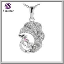 925 Sterling Silver Trendy White and Pink Cubic Zirconia Phoenix Pendant