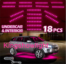 NEW 18pcs PINK Undercar+Interior LED Neon Glow Accent Light 3 Mode Auto Recall