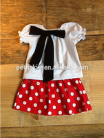 Fashion Korean brand clothing blank top with lovely bow girls red white polka dot mini skirt set