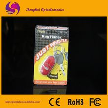White Whistle Sound Control Lost Key Finder Keychain Ring LED Flashlight