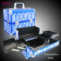 2014 Best Selling light blue Aluminum Makeup Vanity Box With Lock makeup case with handle