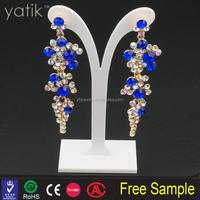 New Fashion Women Enamel Drop Earrings Gold Plated Hook Fame Amber Rhinestone Charm Dangle Earrings
