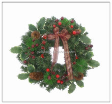 Plastic christmas wreath indoor white flower red berry christmas wreath/green PVC Xmas Wreath with Cherry and Pine cone