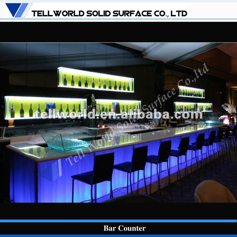 Moderna de m rmore de vidro backlight levou balc o de bar for Muebles para pub