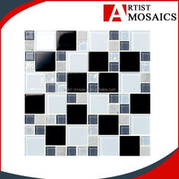 Modern bedroom waterproof decorative black and white mosaic wood wall panel