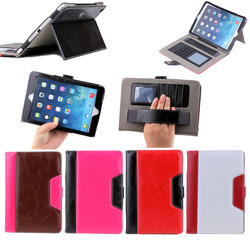 Crazy horse design hand holder leather flip cover case for tablet ipad mini 1 2 3, wallet leather cover case for ipad mini 1 2 3