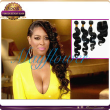 Full head peruvian hair with closure body loose wave 3-4-5pcs hair wefts with silk base closure