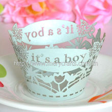 """Fancy design cake decoration christening party supply """"it is a boy"""" laser cut cupcake wrappers party favors for baby shower"""