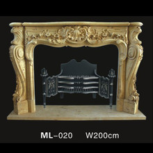 classical cream colored cnc carved indoor used flower fireplace mantel