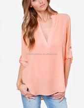 CHEFON Pretty peach deep v neck silky woven models blouses for ladies