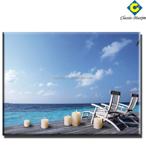 LED light beach scenery canvas for outdoor home decoration