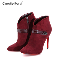 Italian winter half boots suede Ladies christmas shoes