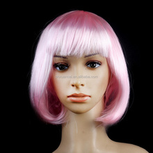 Hot sale factory price short color synthetic hair pink wig bob