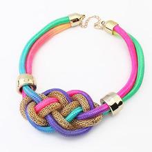оптовая 2014 заявление ювелирные изделия плетеный шелковый шнур ожерелье