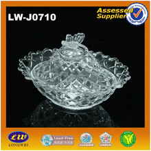 clear decoration glass topic candy jar with lid and butterfly
