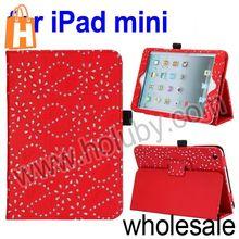Diamond Flowers Pattern Flip Stand Leather Case for iPad Mini/Retina iPad Mini with Pen Slot (4 Colors Optional)