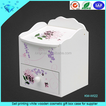 Sell printing white wooden cosmetic gift box case for supplier