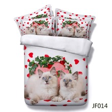 Bed linen Pretty blue eyes cats and red hearts 3d cotton bed sheets