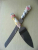 pizza wheel cutter of flatware set with resin handle decor
