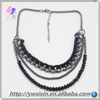 2015 necklace fashion Big gun black necklace Three layer composite necklace for people Of YIWU
