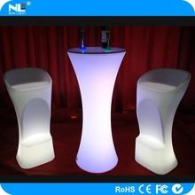Elegant and graceful waterproof LED plastic illuminated light bar seat chairs