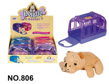 Pet Health Care Set Cute Design With Stuffed Puppy Plastic Transparent Cage Carrier